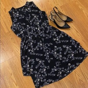 Black dress with white and pale pink flowers